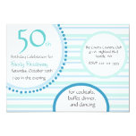 Stylish Turquoise Stripe Birthday Party Invitation