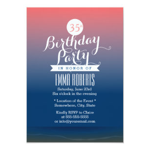 Stylish Twilight Beach Theme Birthday Party Invitation