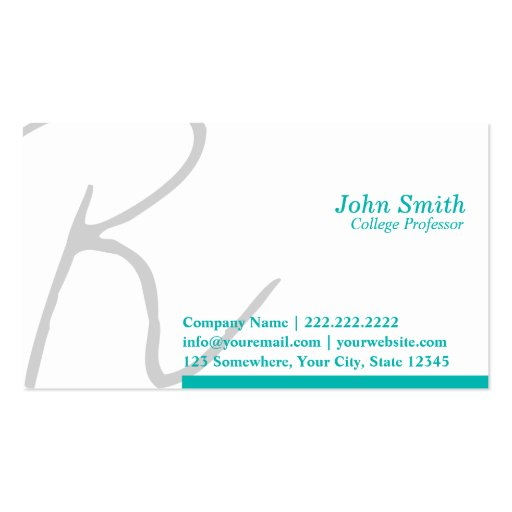 Stylish Typography Professor Business Card