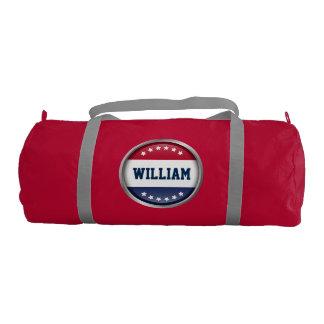 Stylish USA Flag Stars Personalized Monogram Name Gym Duffle Bag
