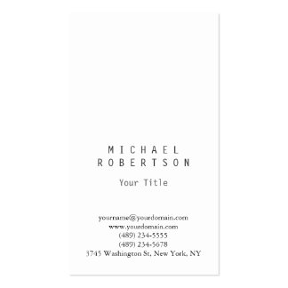 Stylish Vertical White Plain Simple Business Card