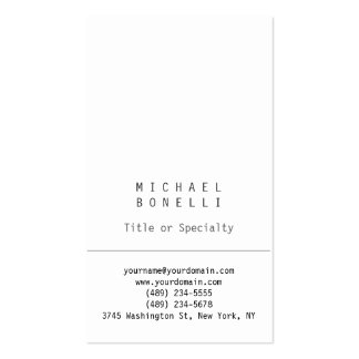 Stylish Vertical White Simple Business Card
