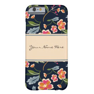 Stylish Vibrant Floral Pattern on Dark Blue Barely There iPhone 6 Case