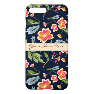 Stylish Vibrant Floral Pattern on Dark Blue iPhone 7 Plus Case