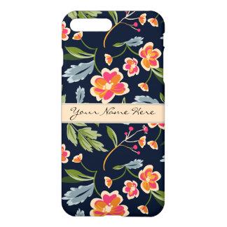 Stylish Vibrant Floral Pattern on Dark Blue iPhone 7 Plus Case