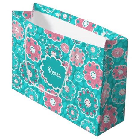 Stylish vibrant pink and green floral large gift bag