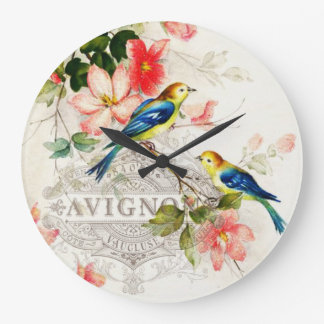 Stylish Vintage Birds and French Script Wall Clock