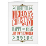 Stylish Vintage Christmas & New Year 2015 Holiday Greeting Card