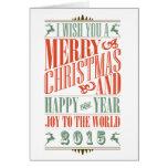 Stylish Vintage Christmas & New Year 2015 Holiday Card