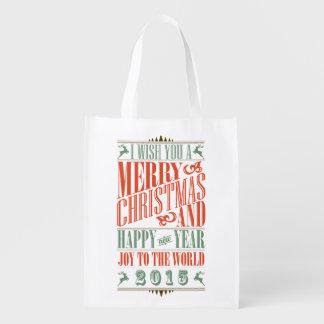 Stylish Vintage Christmas & New Year Reusable Bag Grocery Bag