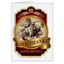 Stylish vintage harvest Thanksgiving message… Card