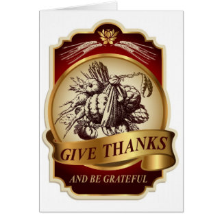 Stylish vintage harvest Thanksgiving message… Card