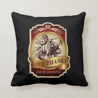 Stylish vintage harvest Thanksgiving message… Throw Pillow