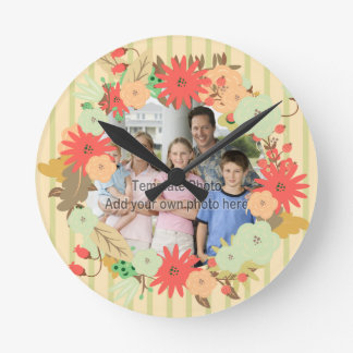 Stylish vintage look floral photo frame round clock