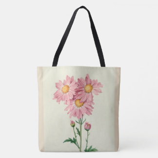 Stylish-Vintage_PINK DAISES--Botanical-Art_M-L Tote Bag