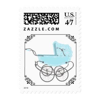 Stylish Vintage Pram Baby Shower Postage Stamp