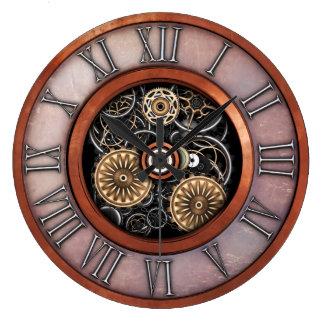 Stylish Vintage Steampunk #4C Large Clock