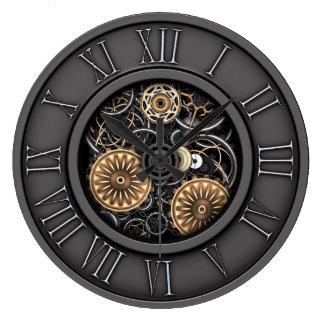 Stylish Vintage Steampunk #5C Large Clock