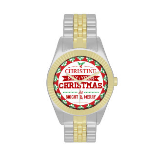 Stylish Vintage style Personalized Xmas typography Watches