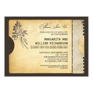 stylish vintage ticket wedding anniversary card