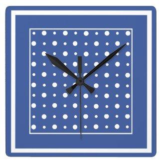 Stylish Wall Clock, Dark Blue Polka Dots