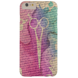 Stylish Watercolor Scissor Vintage Old Paper Barely There iPhone 6 Plus Case