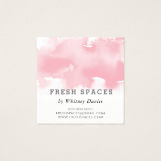 STYLISH WATERCOLOR splash chic blush pink grey Square Business Card