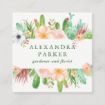 """Stylish Watercolor Succulent Flowers Square Business Card<br><div class=""""desc"""">These stylish business cards feature trendy watercolor succulents and cactus flowers in shades of green,  pink,  and white. Perfect for gardeners,  florists,  and other related fields.</div>"""