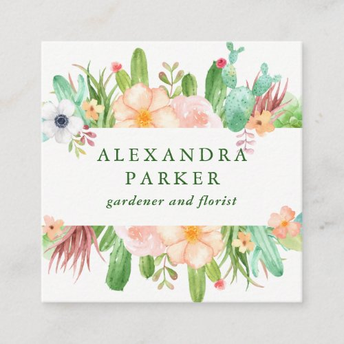 Stylish Watercolor Succulent Flowers Square Business Card