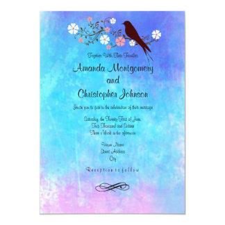 Stylish Watercolors in Pink Purple Blue Wedding Card