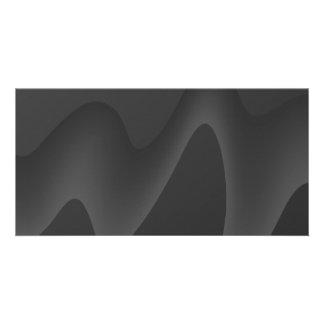 Stylish Wave Design in Dark Gray. Customized Photo Card