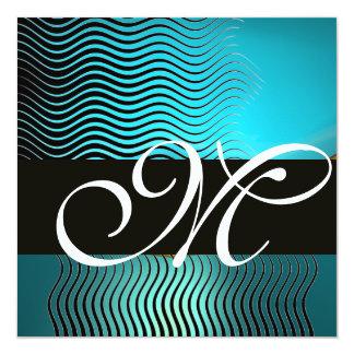 STYLISH WAVES MONOGRAM,aqua blue turquase,sapphire Card
