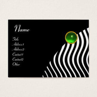 STYLISH WAVES MONOGRAM , black and white green Business Card