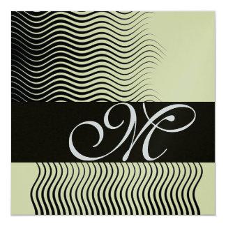 STYLISH WAVES MONOGRAM,black white,silver metallic Card