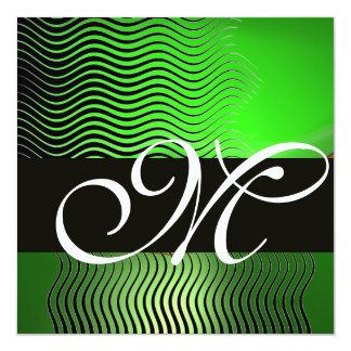 STYLISH WAVES MONOGRAM, emerald green Card