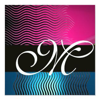 STYLISH WAVES MONOGRAM,pink, blue sapphire Card