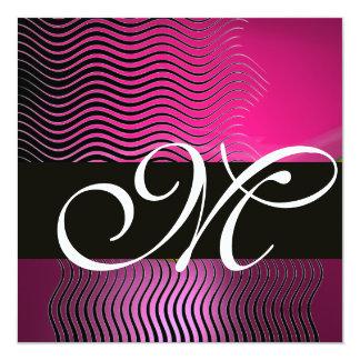 STYLISH WAVES MONOGRAM,pink,purple amethyst Card