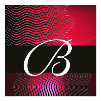 STYLISH WAVES MONOGRAM, Ruby Red Burgundy Card