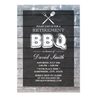 Stylish Weathered Wood BBQ Retirement Party Card
