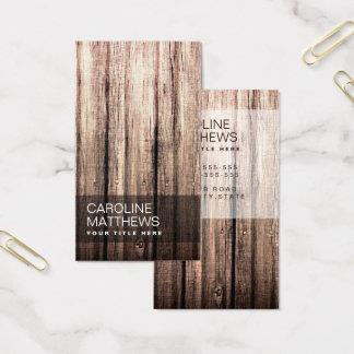 Stylish weathered wood grain professional profile business card