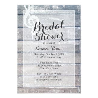 Stylish Weathered Wood Musical Bridal Shower Card