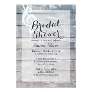 Stylish Weathered Wood Musical Bridal Shower 5x7 Paper Invitation Card
