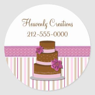 Stylish Wedding Cake Bakery Business Sticker