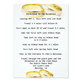 "Stylish Wedding Directions Custom Invitations 6.5"" X 8.75"" Invitation Card"