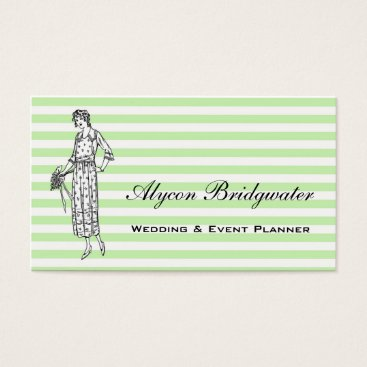 Professional Business Stylish Wedding & Event Planner Mint Stripes Business Card