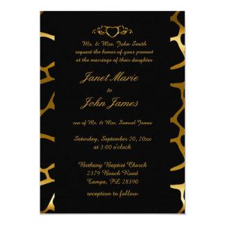 Stylish Wedding in Gold & Black Giraffe Pattern Card
