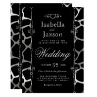 Stylish Wedding in Silver & Black Giraffe Pattern Invitation