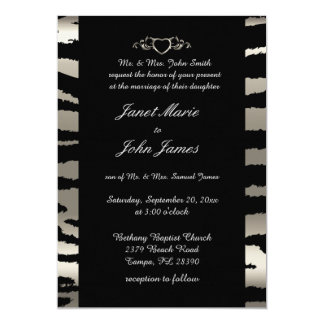 Stylish Wedding in Silver & Black Zebra Stripes Card