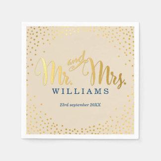 STYLISH WEDDING mini confetti gold navy ivory Paper Napkin