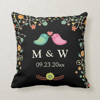 Stylish Wedding Monogram Floral Love Birds Couple Throw Pillow